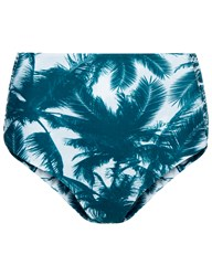 Mikoh Green Palm High Waisted Bottoms Blue