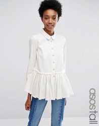 Asos Tall Denim Drop Waist Pleated Shirt In White With Raw Hem White