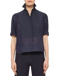 Akris Punto Half Sleeve Pintucked Linen Blouse Navy