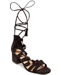 Madden Girl Loverrr Lace Up Block Heel Sandals Women's Shoes Black