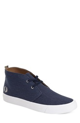 Fred Perry 'Vernon' Chukka Boot Men Carbon Blue Natural Canvas