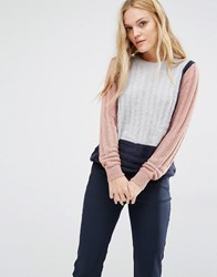 Y.A.S Jane Jumper In Colourblock Navy And Grey Multi