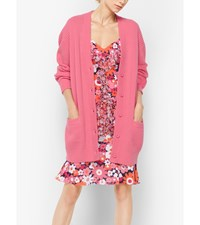 Cashmere Ribbed Cardigan Pink