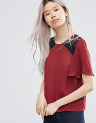 Girls On Film Top With Lace Detail Red