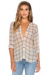 Michael Stars Plaid Mesh Long Sleeve Henley Top Taupe