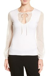Elie Tahari Women's 'Malia' Lace Trim Keyhole Neck Merino Wool Sweater