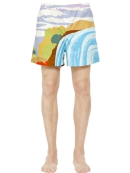 J.W.Anderson Landscape Printed Cotton Twill Shorts Blue