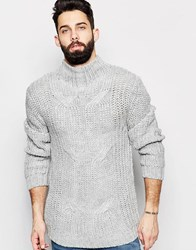 Asos Cable Jumper With Turtleneck Grey