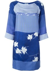 Pierre Louis Mascia Pierre Louis Mascia Mixed Print Dress Blue