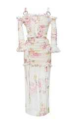 Alessandra Rich Ruched Floral Print Midi Dress White