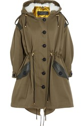 Burberry Oversized Hooded Shearling And Leather Trimmed Cotton Twill Parka Army Green