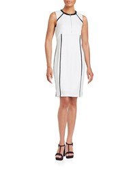 Calvin Klein Faux Leather Trimmed Sheath Dress Soft White