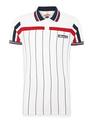 Ellesse Regular Fit Vertical Stripe Logo Polo Shirt White