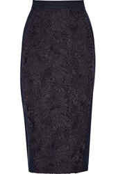 Sea Guipure Lace And Stretch Crepe Skirt