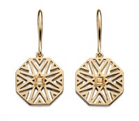 Fiorelli Costume Large Octagonal Cut Out Pattern Gold Earrings