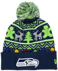 New Era Seattle Seahawks Christmas Sweater Pom Knit Hat