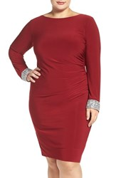 Marina Plus Size Women's Embellished Drape Back Jersey Cocktail Dress