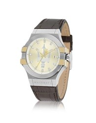 Maserati Potenza Two Tone Stainless Steel And Brown Leather Strap Men's Watch Multicolor