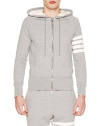 Thom Browne Classic Zip Up Hoodie With Stripe Detail Light Gray Optic White Lt Grey Optic Whi