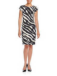 Laundry By Shelli Segal Zebra Print Ruched Dress Multicolor