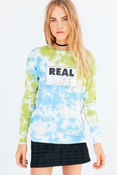 Silence And Noise Real Life Tie Dye Long Sleeve Tee Blue Multi