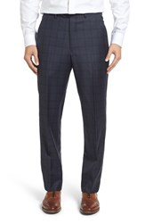 Santorelli Men's Flat Front Plaid Wool Trousers Navy