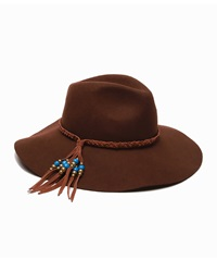 Ale By Alessandra Gaucho Suede Trim Beaded Hat Brown