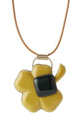 Marni Leather Necklace With Pendant Brown