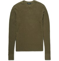 Alexander Wang T By Waffle Knit Cotton Sweater Army Green