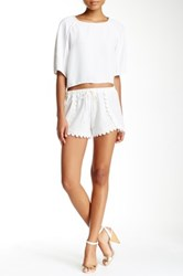 Necessary Objects Crochet Trim Short White