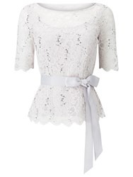 Jacques Vert Delicate Corded Lace Top Light Grey