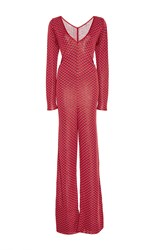 Pepa Pombo Red Wrap Front Jumpsuit