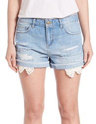 Design Lab Lord And Taylor Crocheted Trim Cutoff Denim Shorts Light Wash
