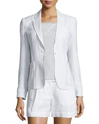 Atm Anthony Thomas Melillo Striped Linen Blend Schoolboy Blazer White Women's