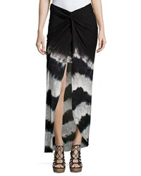 Young Fabulous And Broke Young Fabulous And Broke Kulani Knotted Tie Dye Maxi Skirt Black Chevron Stripe