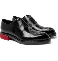 Berluti Printed Whole Cut Polished Leather Oxford Shoes Black