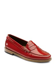 G.H. Bass Whitney Patent Leather Penny Loafers Tangerine