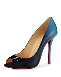 Christian Louboutin Yootish Degrade Peep Toe Red Sole Pump Night Celeste