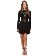 Philipp Plein Leather Insetted Long Sleeve Dress Black