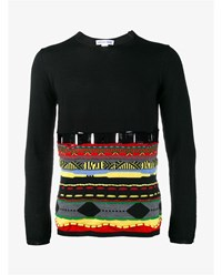 Comme Des Garcons Wool Blend Aztec Embroidered Sweater Black Multi Coloured White