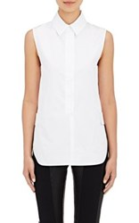 Paco Rabanne Women's Button Tab Cotton Poplin Sleeveless Shirt White