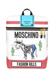 Moschino It's Lit Printed Faux Leather Backpack