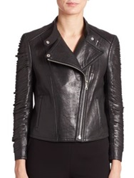 Yigal Azrouel Fringe Leather Moto Jacket Black