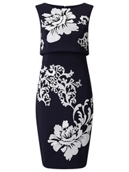 Phase Eight Moira Sequin Flower Dress Navy Ivory
