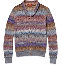 Missoni Zig Zag Crochet Knit Shawl Collar Cardigan Purple