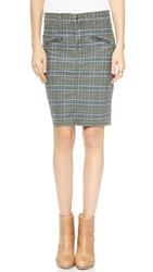 Current Elliott The Soho Zip Stilleto Pencil Skirt Highlander Plaid