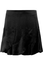 Chloe Ruffled Silk Satin Mini Skirt Black