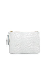 Neiman Marcus Snake Embossed Clutch Bag White