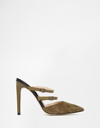 River Island Suede Pointed Toe Heeled Mule Sandals Khaki