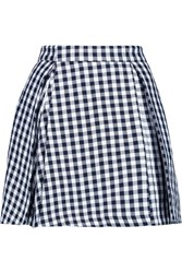 Msgm Gingham Cotton Blend Mini Skirt Blue